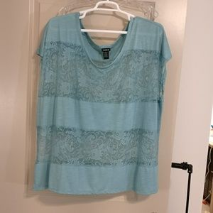 Torrid cap sleeve aqua fabric and lace blouse sz 4